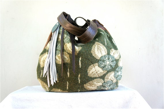SALE//Agatha// in Vintage Boiled Wool Blanket with Camel, and Olive Green Leather Accents // Two-Way Strap