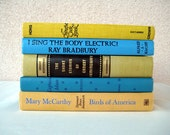 ENTIRE STORE 40 OFF Sale - Vintage Yellow and Blue Books - Library Filler Book Decor Photo Props - Home Decor