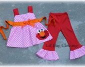 Custom Boutique Clothing Elmo Sesame Street Jumper Top and Pants Red  Orange and Bubble Gum Pink