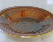 Large Wheel Thrown Pottery Serving Bowl in a Warm Amber