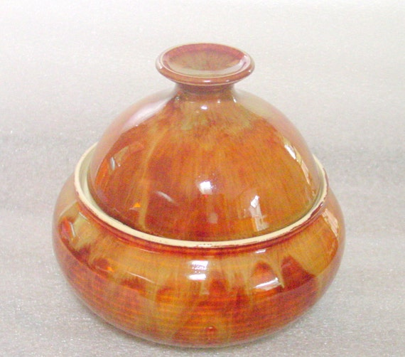 Pottery Baking Dish or Casserole with a warm Golden Copper Creamy Glaze - Sized for One or Two.