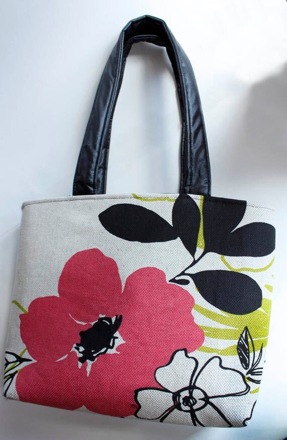 RESERVED SPECIAL ORDER Zippered Natural Woven Floral with Vinyl Accents Lined Tote