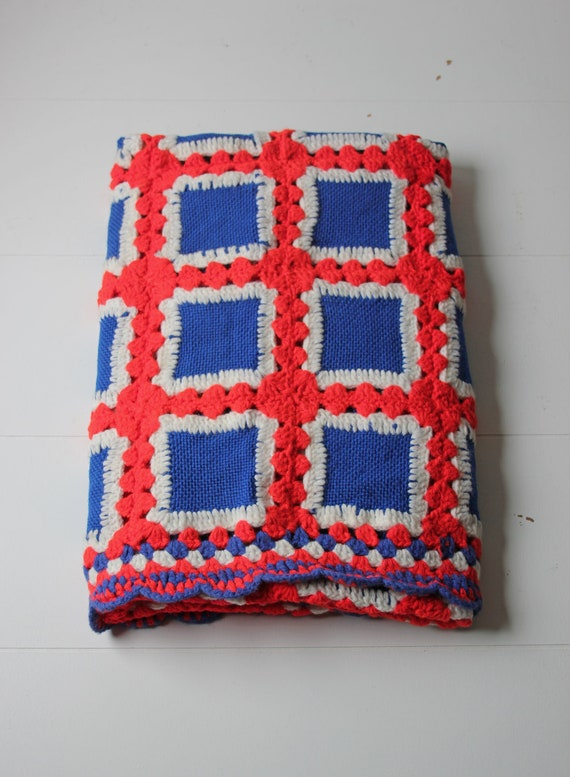 Red White Blue Crochet Blanket Afghan Thick Woven Patriotic