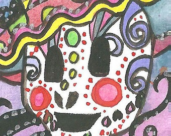 Day of the Dead ACEO Sugar skull Painting Sugar skull Illustration Watercolor Acrylics Mixed Media ACEO Mexican Celebration Sugar Skull Art