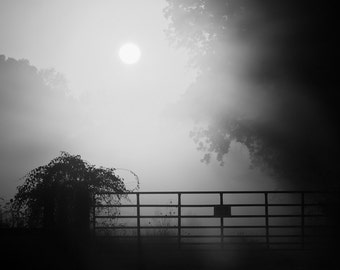Foggy Country Sunrise Black and White Landscape Photograph