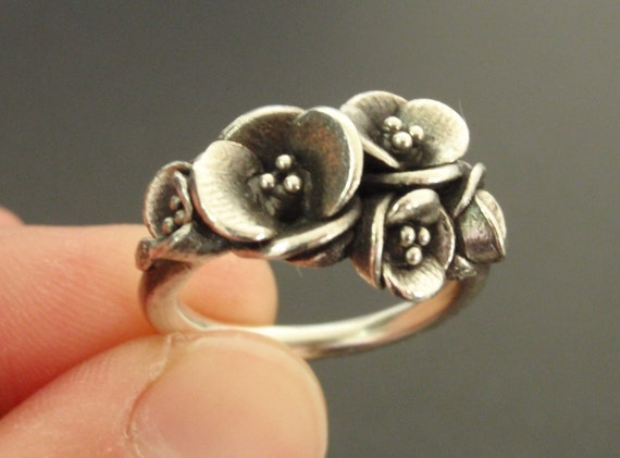 A Bouquet of Poppies - Handsculpted, Cast Sterling Silver Ring - Ready to Ship (Sizes 6.75 to 7.5)