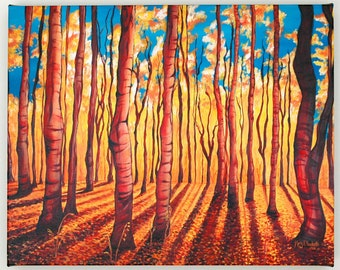 Birch Trees in the Fall--16x20 Fine Art Canvas Print