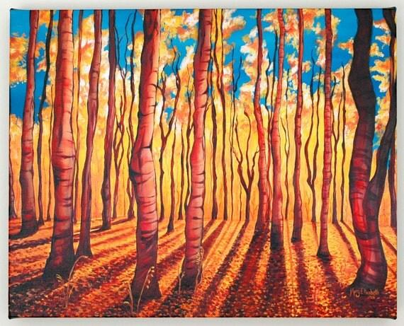 Birch Trees in the Fall--16x20 Fine Art Canvas Print