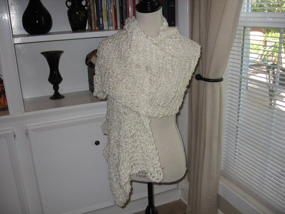 Cozy Ivory Shawl, Hand Knit in Boucle Yarn