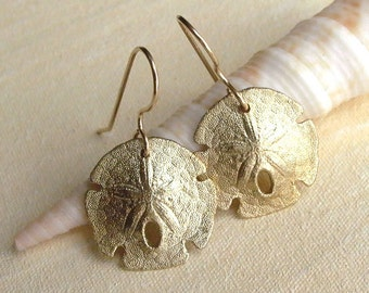 Sand Dollar Earrings - Brass - Sea Biscuit - Nautical - Beach Inspired - Organic - Detailed - Cottage Chic - Shell Jewelry - Dangle Earrings