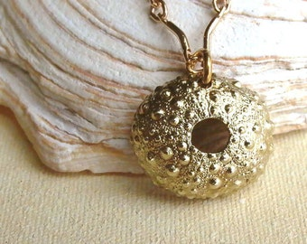 Sea Urchin Necklace - Brass - Sea Urchin - Bumpy - Spiky - Organic - Nature Inspired - Beachy - Beach Wedding - Shell Jewelry - Pendant