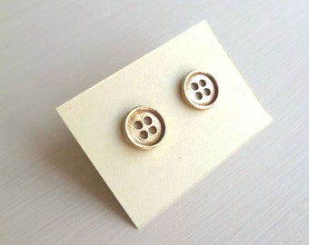 SALE - Button Earrings - Brass - Sewing Inspired - Button Studs - Cottage Chic - Rustic - Button Jewelry - Gifts Under 20 - Brass Buttons