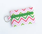 Business Card Holder, Small Zipper Pouch, Flash Drive Holder Pink and Green Chevron