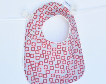 Baby Boy Bib, Adjustable Bib with Minky in Red and Grey