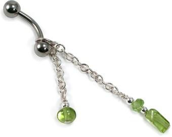 Peridot Dangle Belly Ring. Peridot Sterling Silver Dangle Belly Ring. Gemstone Navel Ring. Chain Belly Ring. Body Jewelry. August Birthstone