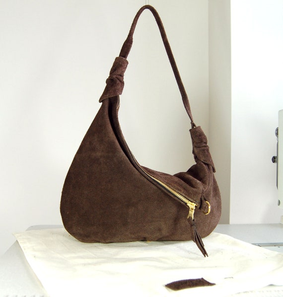 Rosaire - Brown suede leather hobo shoulder bag, handmade.