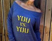 You Vs. You. Eco-Heather Crop Raglan sizes S-XL.