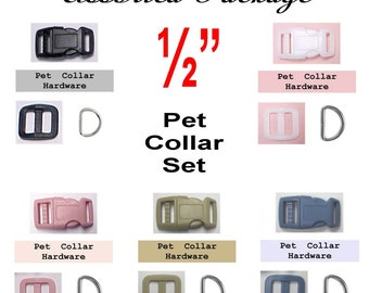 """SALE - 20 SETS - 1/2"""" - VARIETY Pack - Dog Collar Kits, 1/2 inch, 60 Pieces, 12.7mm"""