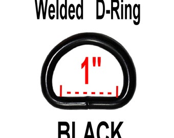 "10 PIECES - 1"" - BLACK Coated Metal Welded D Ring - 1 inch"