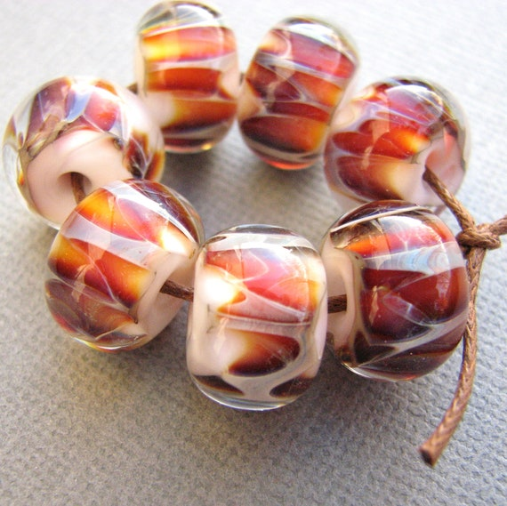 Boro Beads - Lampwork Glass - White Sky with Amber and Purple Stripe