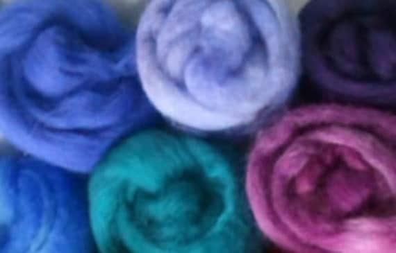 Merino roving SALE 3 oz. 6 colors Winter Blues felting spinning weaving