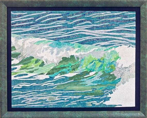 Ocean Wave Wall Decor Art Quilt Framed