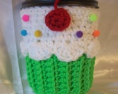 Cup Cozy Cupcake sleeve crochet Green Neon Cupcake Cup Cozy Sleeve for Hot or Cold solo beer Drinks Sprinkles Cherry Ready To Ship
