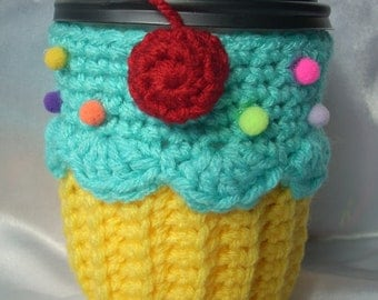 Cupcake Coffee Cup Cozy Sleeve  for HOT or COLD Drinks Lemon Yellow Turquoise Sprinkles Cherry Ready To Ship