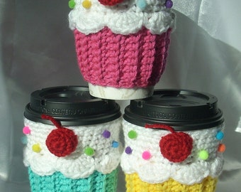 U Pic Color Cupcake CUP Cozy Sleeve  for HOT or COLD Drinks Sprinkles Cherry