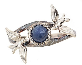 Twin Swallows on Twin Branches with Blue Rose Cut Sapphire Sterling Silver Ring