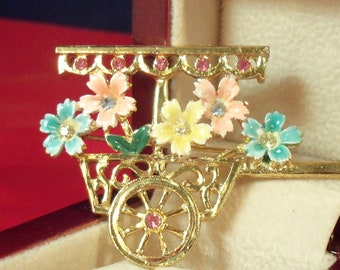 Vintage Flower Cart Pin / Brooch