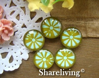 Glass Cabochon, 8mm 10mm 12mm 14mm 16mm 20mm 25mm 30mm Round Handmade photo glass Cabochons  (Flower) -- BCH080G