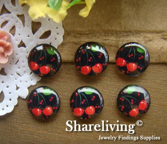 12mm Photo Cabochon, 8mm 10mm 14mm 16mm 20mm 25mm 30mm Round Cherry glass Cabochon - BCH101C