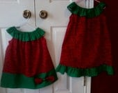 Matching sister Christmas dresses, sizes 3T and 5T/6, READY to ship, red and green