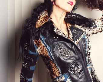 Denim Leather Jacket, studded and spiked, Punk Leopard Coat. Custume Made in Your Size