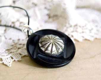 Vintage Button Necklace One World Eco Friendly Jewelry Black Silver Pendant Winter Fashion Women Recycled Accessories