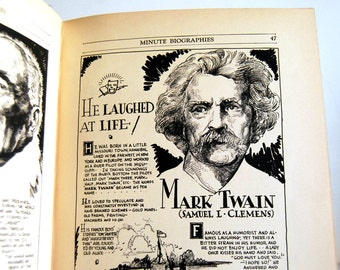 Minute Biographies Book, 1930s Comics Book, Line Drawings, Nisenson and Parker, Mark Twain History Text, Black White Art Portrait