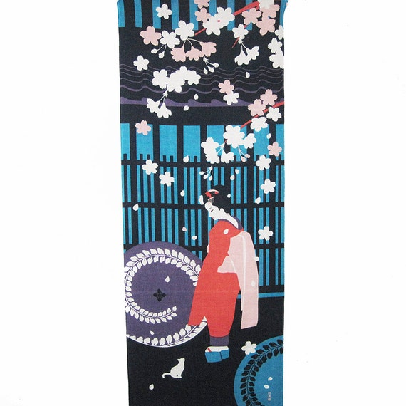 Cherry Blossoms Maiko and Cat Design Japanese Asian Fabric Panel Tenugui