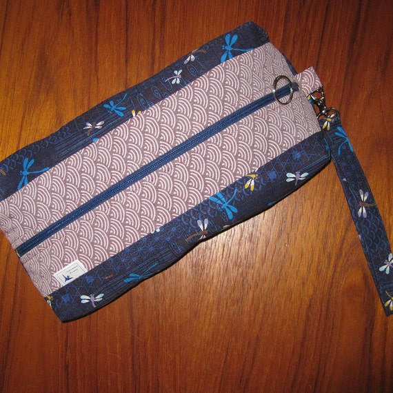Travel Toiletries or Cosmetic Pouch Dragonfly Design Japanese Asian Fabrics with Wrist Strap