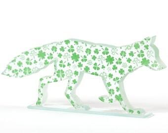 Shamrock Fox Glass Lucky Clover Printed Enamel Sculpture