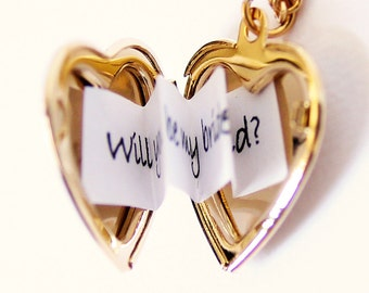 Valentines Day Gold Heart Locket - Secret Message Locket - Shiny Gold Edition - Customized with your personal message