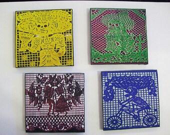 Day of the Dead coaster set retro Mexico dia de los muertos coasters papel picado kitsch