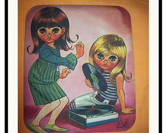 Big eye print mouse pad retro vintage mod 1960's sad eye gogo  kitsch