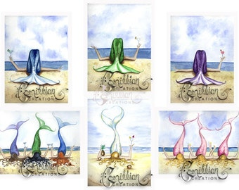 Blank MERMAID Note Cards from Original Watercolors by Camille Grimshaw