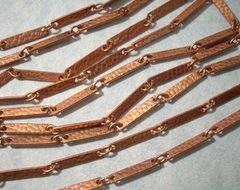 Vintage Copper Hammered Bar Link Chain (20 FT) Copper Chain Necklace Chain