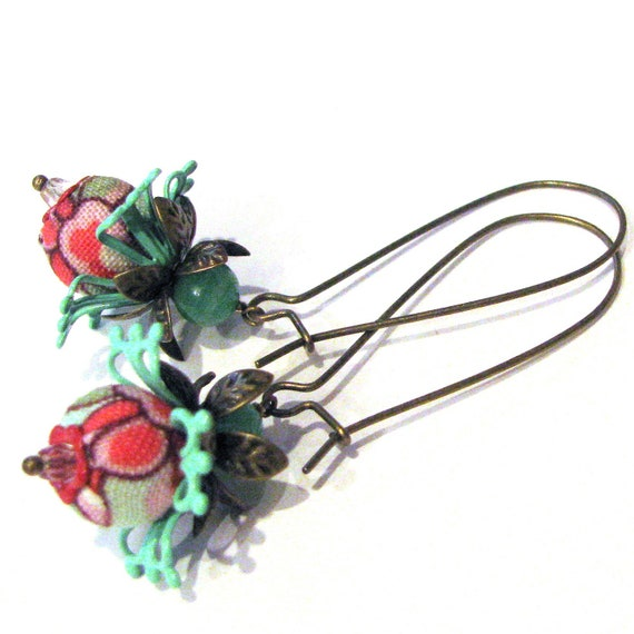 Fabric Earrings Beaded Jewelry . Fuchsia and Mint