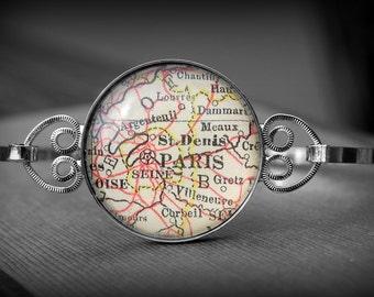 Paris Map Bangle Bracelet