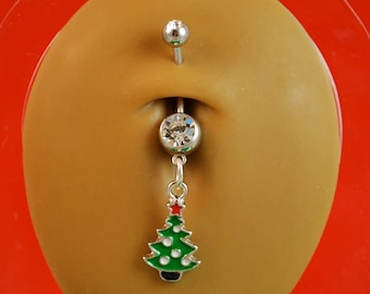 Christmas Tree Charm Belly Button Ring