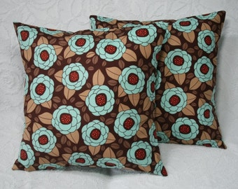 "Flower Blooms Decorative Throw Pillow Covers - Set of 2 - Joel Dewberry Aviary 2 Blooms in Bark - Accent Pillow Cover - 20"" (**)"