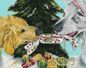 Dogs Art Christmas Cracker Design Original Painting On Canvas Board